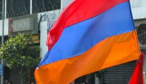 Lebanese Armenian citizens protest the visit of Turkish PM Erdogan