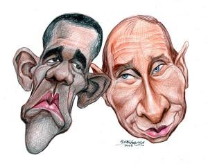 karikatur obama-putin theater
