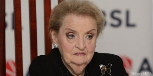 epa04220293 Former US Secretary of State Madeleine Albright at a press conference at the 5th ABSL Conference 'Poland - taking the World' in Poznan, Poland, 23 May 2014. The ABSL (Association of Business Service Leaders) conference, 25 years after the June elections and 10 after the Polish accession to the European Union, is on further strengthening of the Polish position internationally.  EPA/JAKUB KACZMARCZYK POLAND OUT