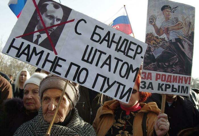 Участники митинга против «Евромайдана» в Севастополе, 23 февраля 2014 года Фото: Василий Батанов / Sputnik / Scanpix / LETA