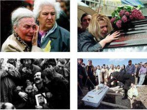 Жители Югославии скорбят по погибшим близким